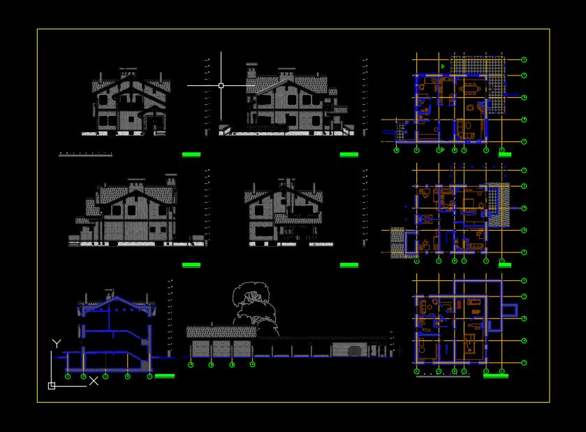 Classic Villa Plan and Elevation CAD Template DWG