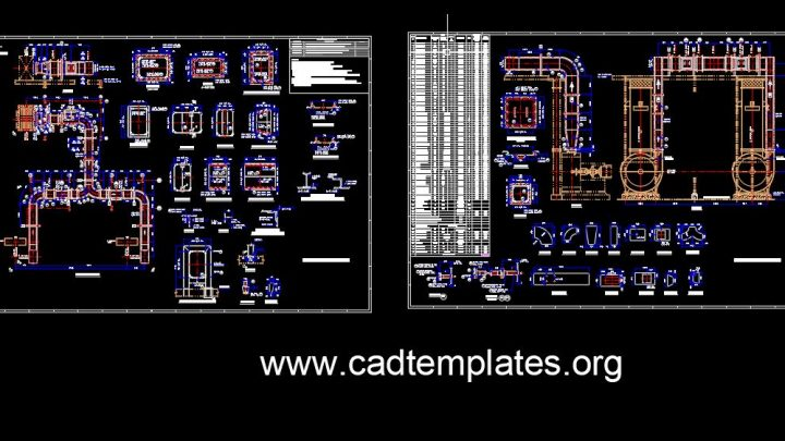 Cold Air Duct Elevation and Sections Details CAD Template DWG