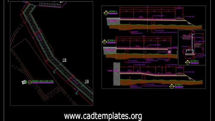 Crushed Rock Road Plan and Cross Section Detail CAD Template DWG