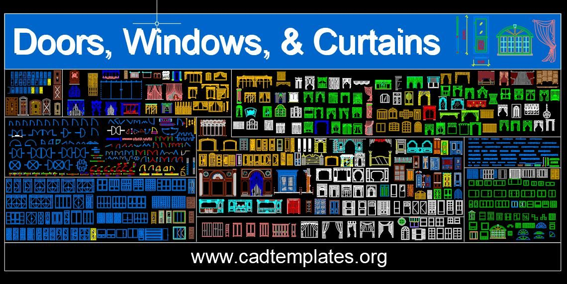 Doors Windows and Curtains Autocad Free Blocks CAD Template DWG