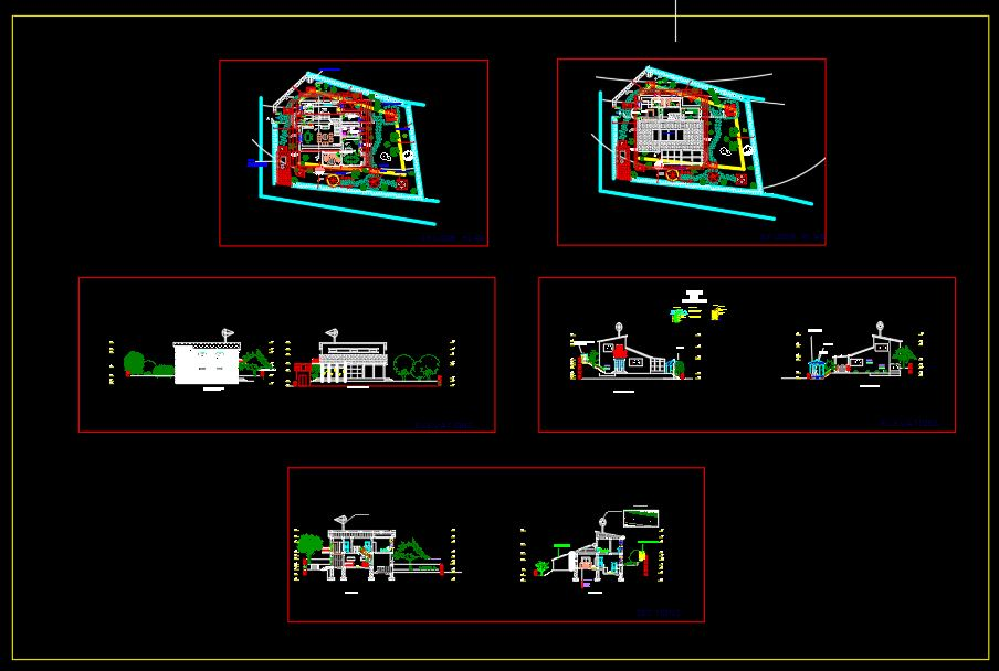 Ecological House Plans and Elevations CAD Template DWG