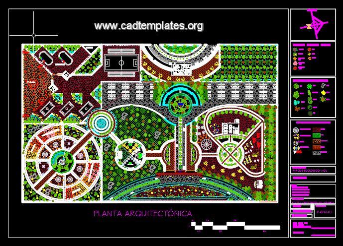 Ecotourism Park Design Layout Plan CAD Template DWG