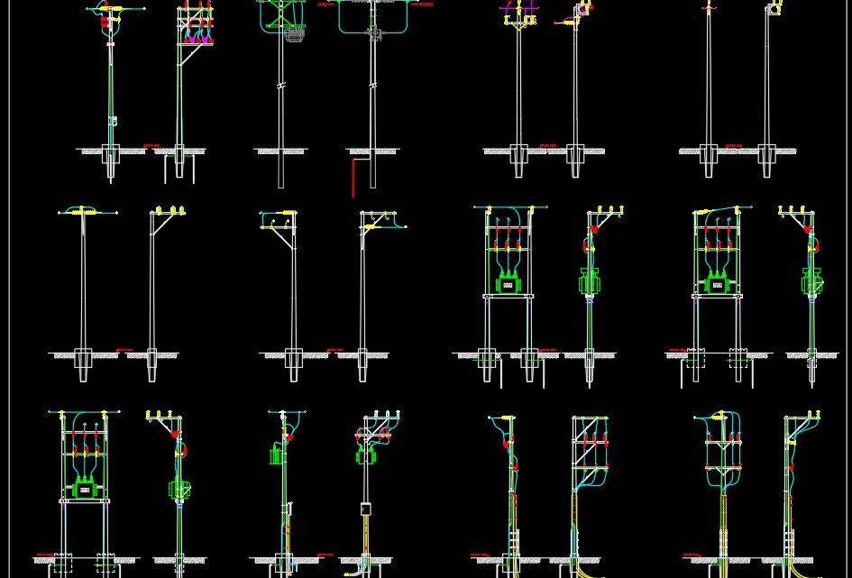 Electrical Poles Details CAD Templates DWG