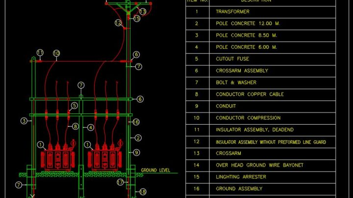 Electrical Transformer Installation Details CAD Templates DWG