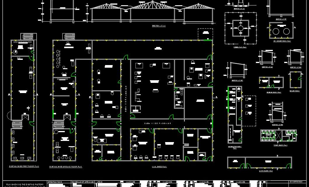 Factory Building Layout Plan and Elevation CAD Template DWG
