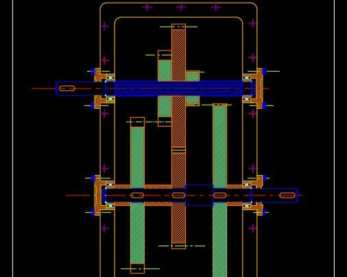 Gear Train with Splined Shaft Autocad Template DWG