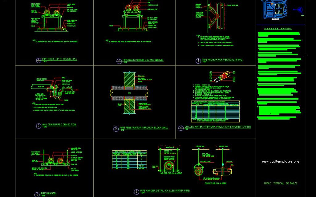 HVAC Typical Details Drawing CAD Template DWG - CAD Templates | Hvac Drawing Dwg Download |  | CAD Templates
