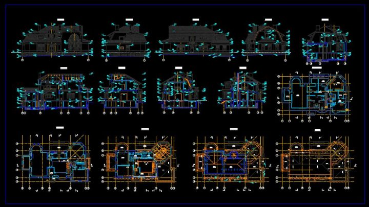 Historic Villa Plans Elevations and Sections CAD Template DWG