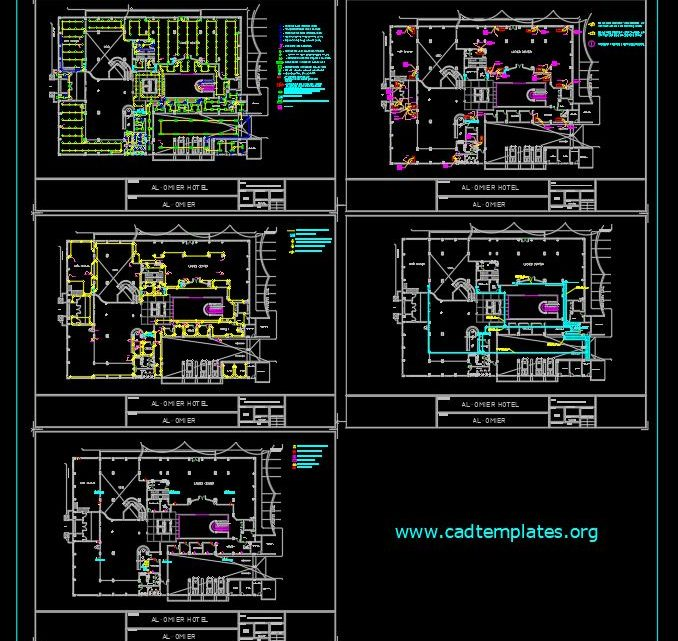 Hotel Ground Floor Lighting and Power Layout Plan Autocad Template DWG