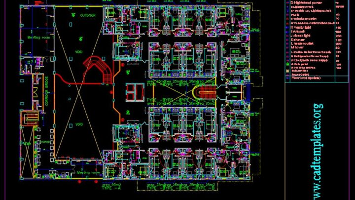 Hotel Mezzanine Floor Lighting and Power Plan Autocad Template DWG