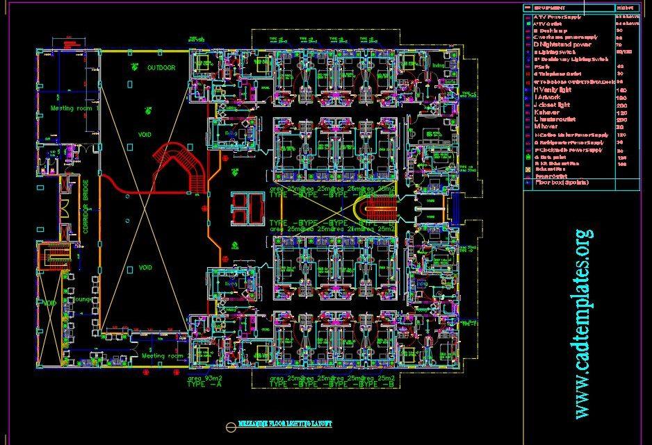 Hotel Mezzanine Floor Lighting and Power Plan Autocad Template DWG
