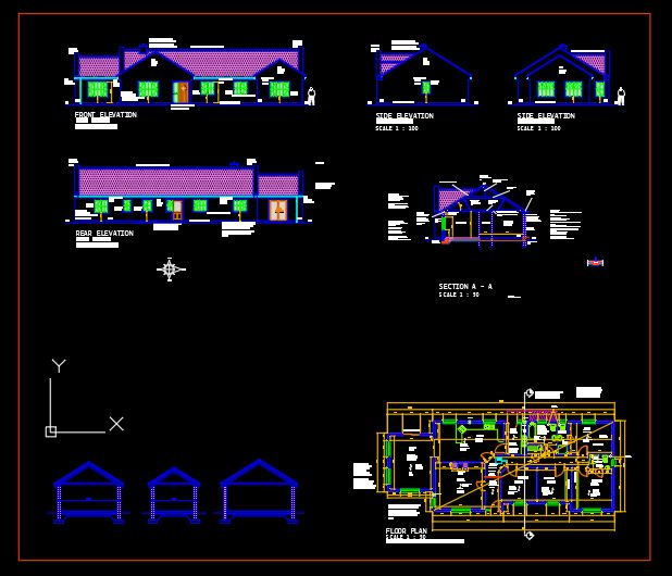 House Floor Plan and Elevations Details CAD Template DWG
