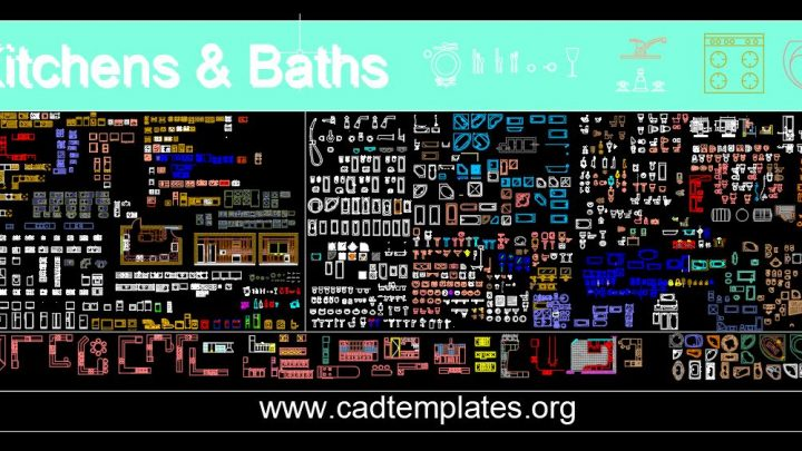 Kitchens and Baths Autocad Free Blocks CAD Template DWG