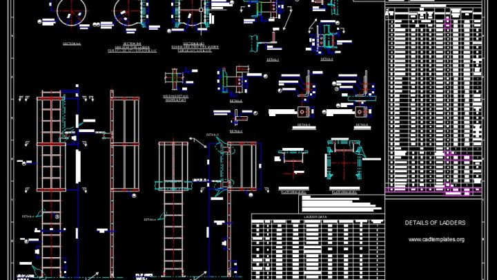 Ladders Elevation and Sections Details CAD Template DWG