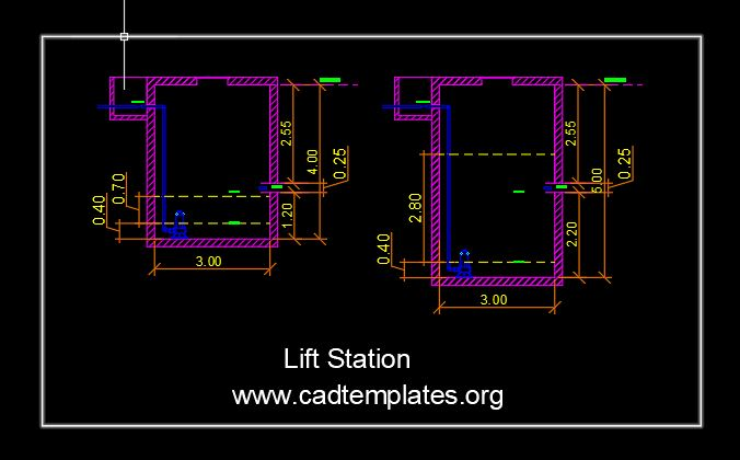 Lift Station Section Details Autocad Template DWG