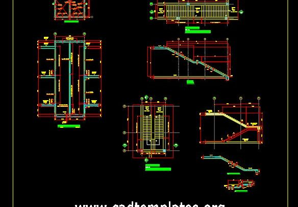 Lift and Staircase Elevation and Section Details CAD Template DWG