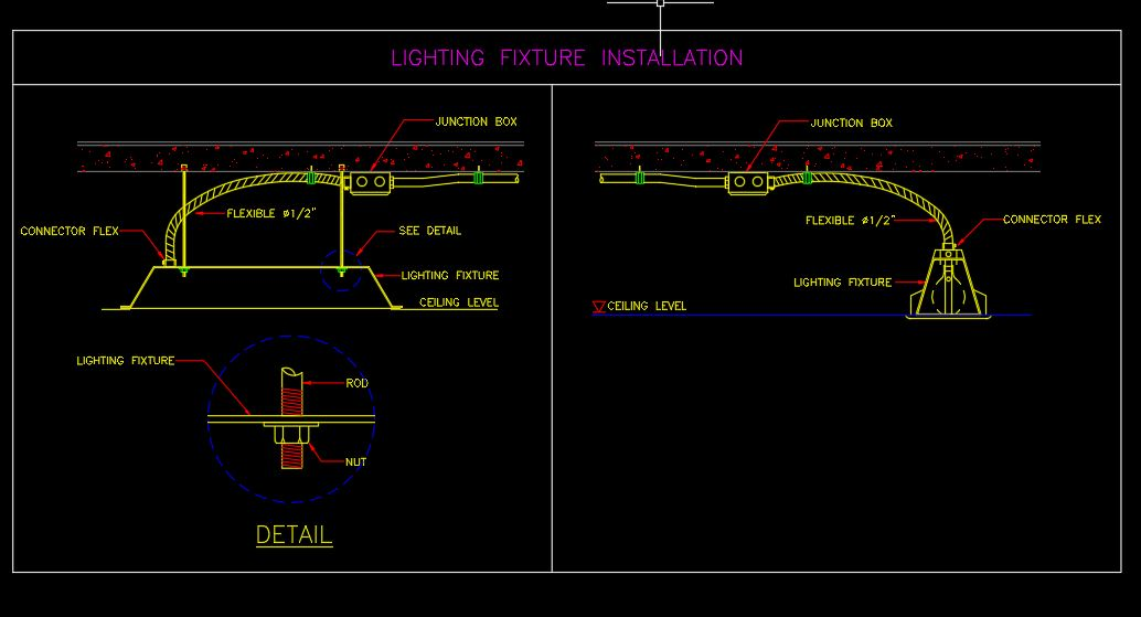 Lighting Fixture Installation Details CAD Template DWG