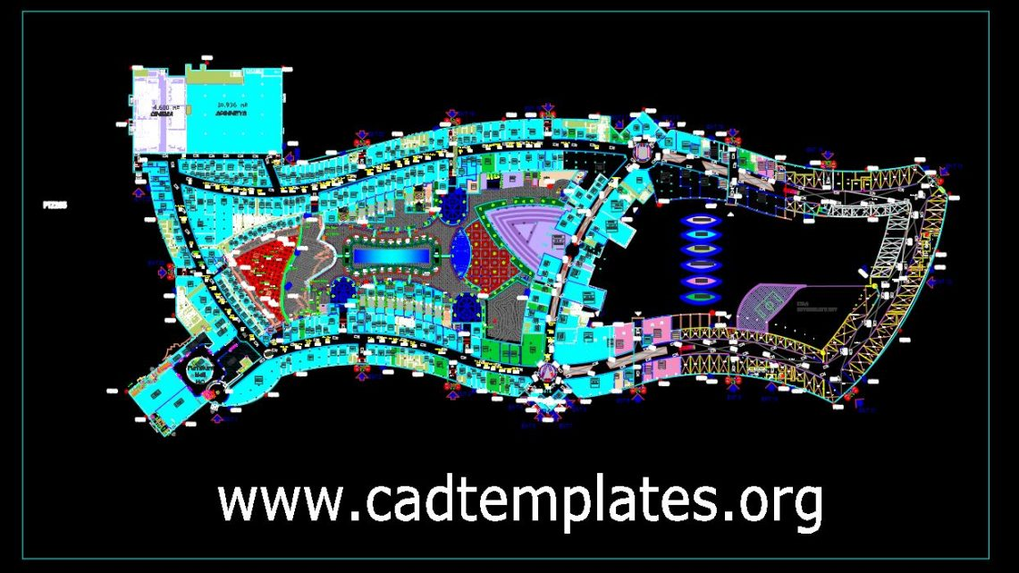 Mall Design Project Complete Layout Plan CAD Template DWG