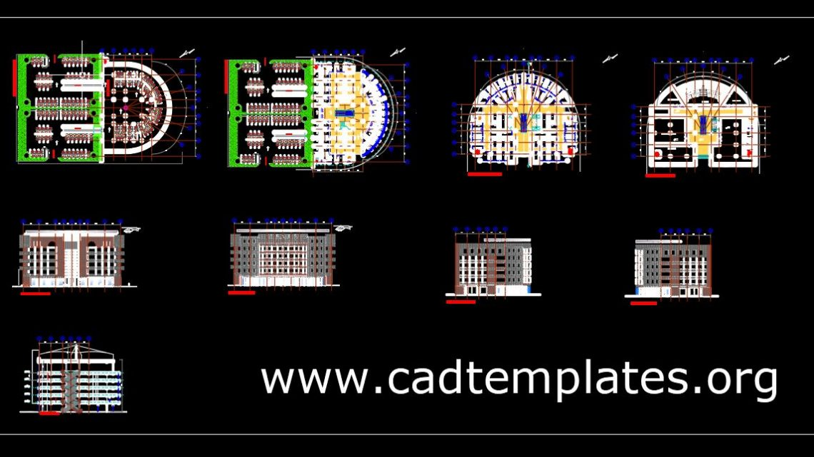 Mall and Shopping Center All Levels Plans With Sections CAD Template DWG