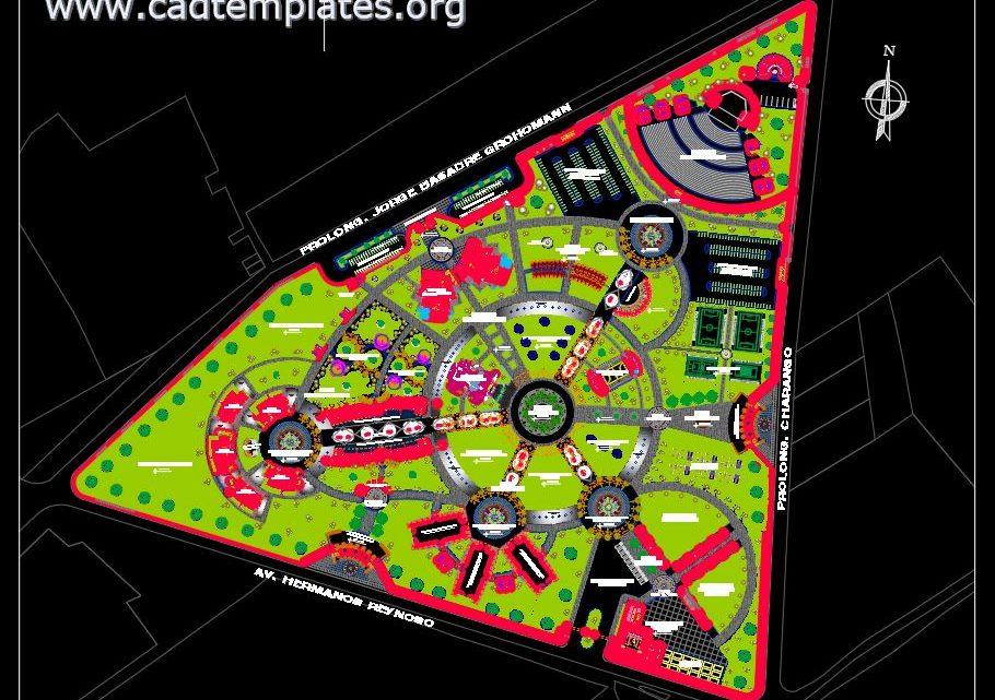 Multipurpose Park Design Layout Plan CAD Template DWG