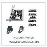 Museum Project Layout Plan and Elevation CAD Template DWG