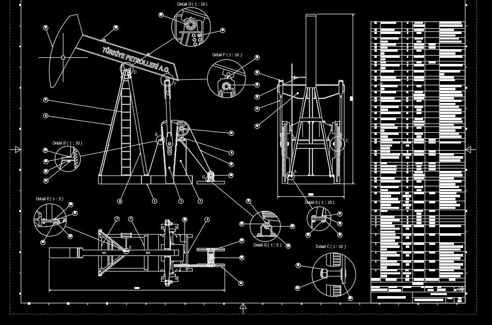 Oil Derrick Pump Assembly Drawing CAD Template DWG
