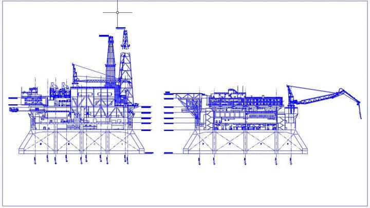 Oil Platform Elevation Plan CAD Template DWG