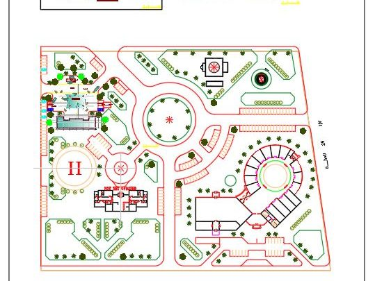 Oil Station Layout Plan and Elevations CAD Template DWG