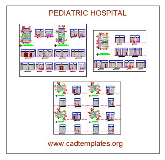 Pediatric Hospital Layout Plan and Elevations Autocad Template DWG