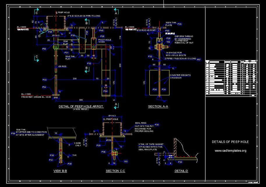 Peep Hole Sections Details CAD Template DWG