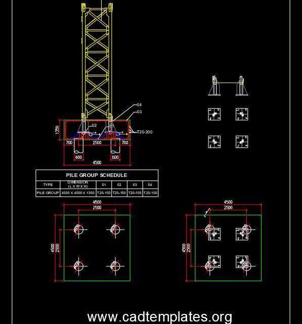 Pile Cap Details For Tower Crane CAD Template DWG
