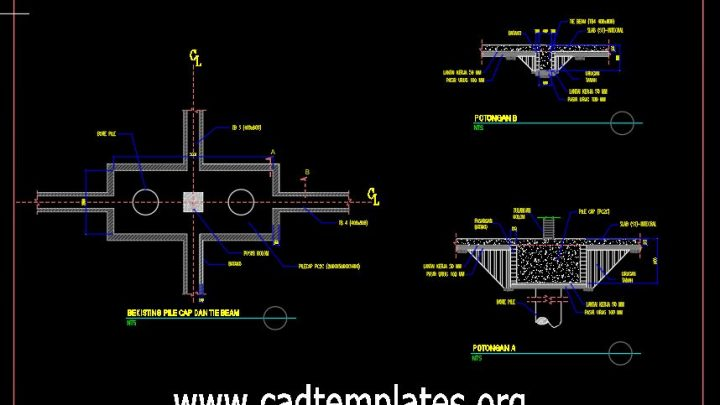 Pile Cap and Tie Beam Details CAD Template DWG