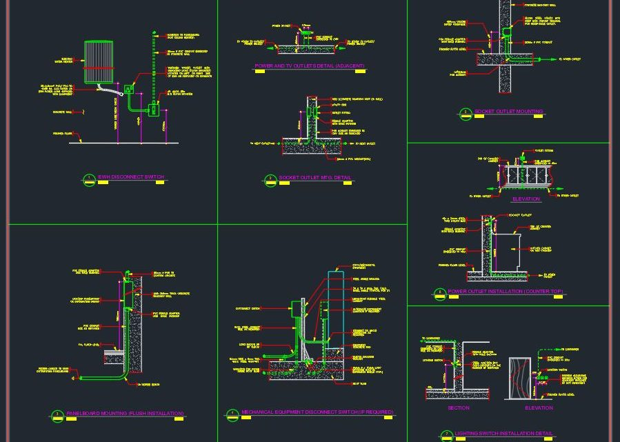 Power Electrical Details CAD Templates DWG