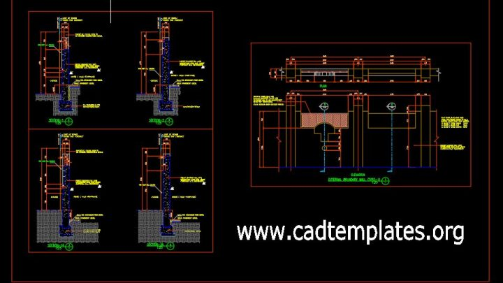 Precast Boundary Wall Elevation and Sections Details CAD Template DWG