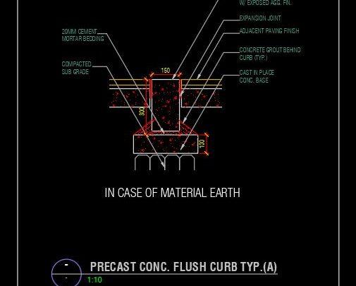 Precast Concrete Flush Curb Details CAD Template DWG