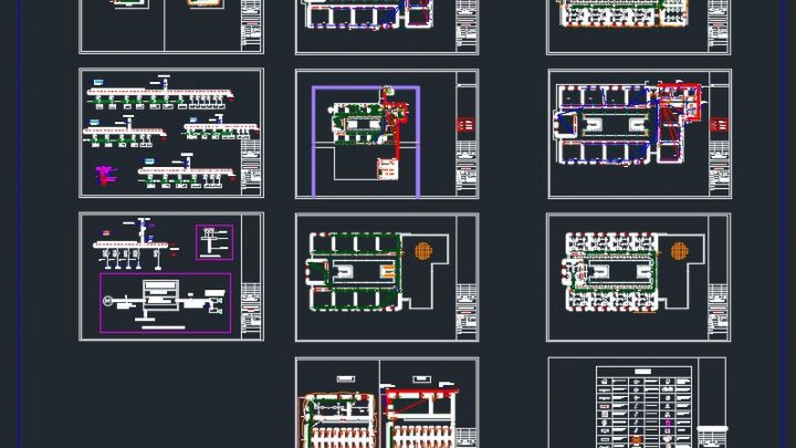 Primary School Lighting Plans and Distribution Board Details CAD Template DWG