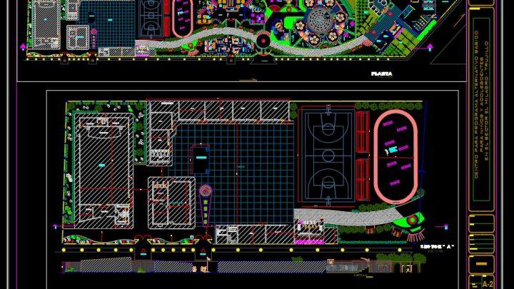 Recreative Sport Center Layout Plan CAD Template DWG