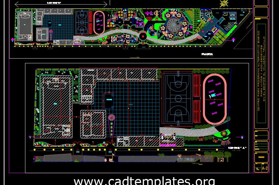 Recreative Sport Center Layout Plan CAD Template DWG