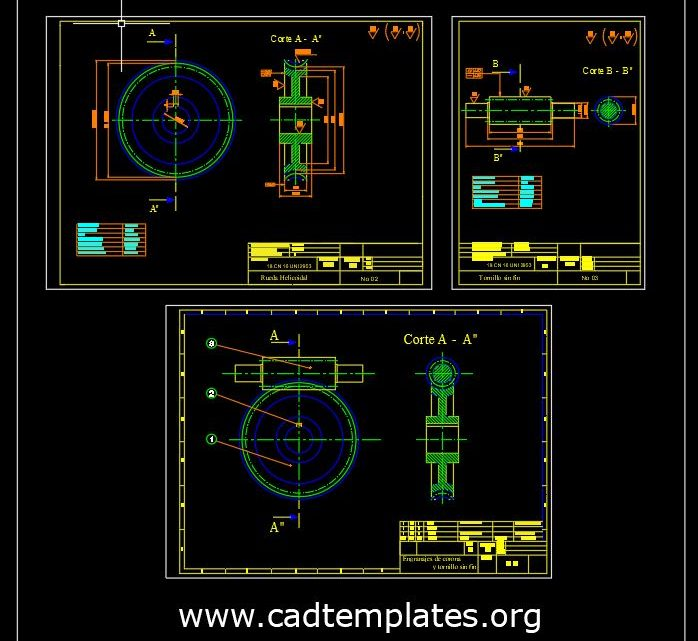 Screw Reducer Sections Details CAD Template DWG