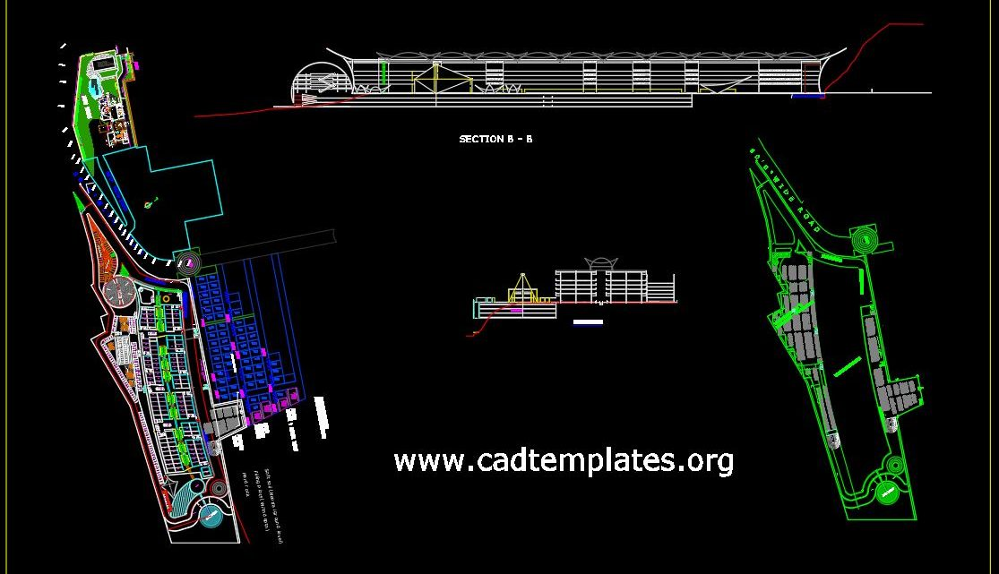 Shopping Mall Layout Plan and Sections Details CAD Template DWG