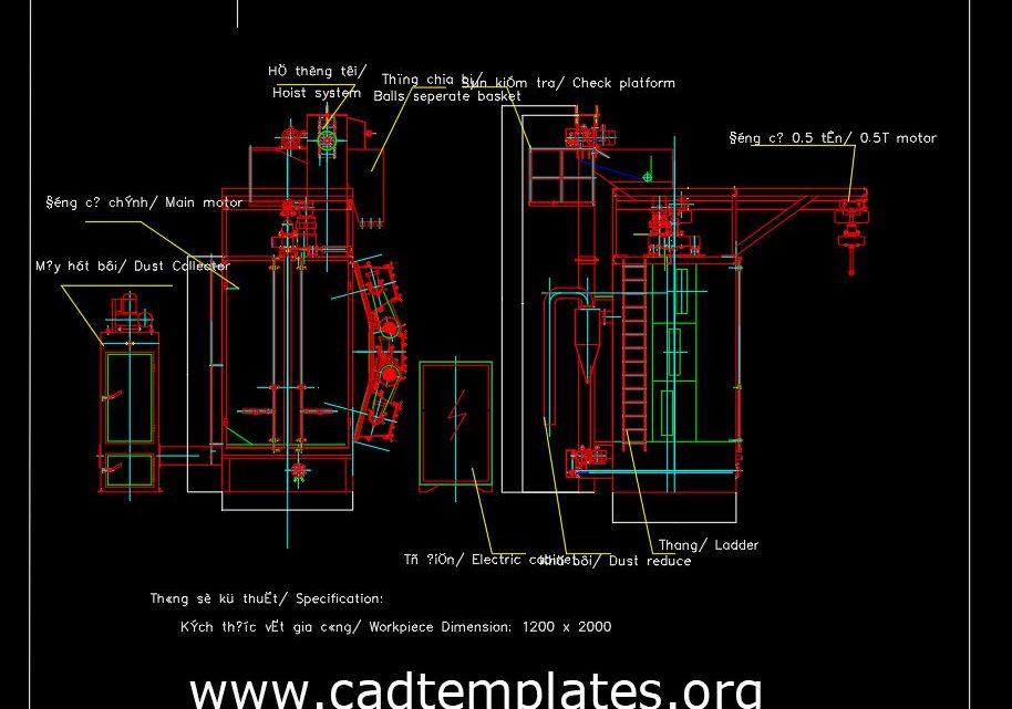 Shot Blasting Machine Drawing CAD Template DWG