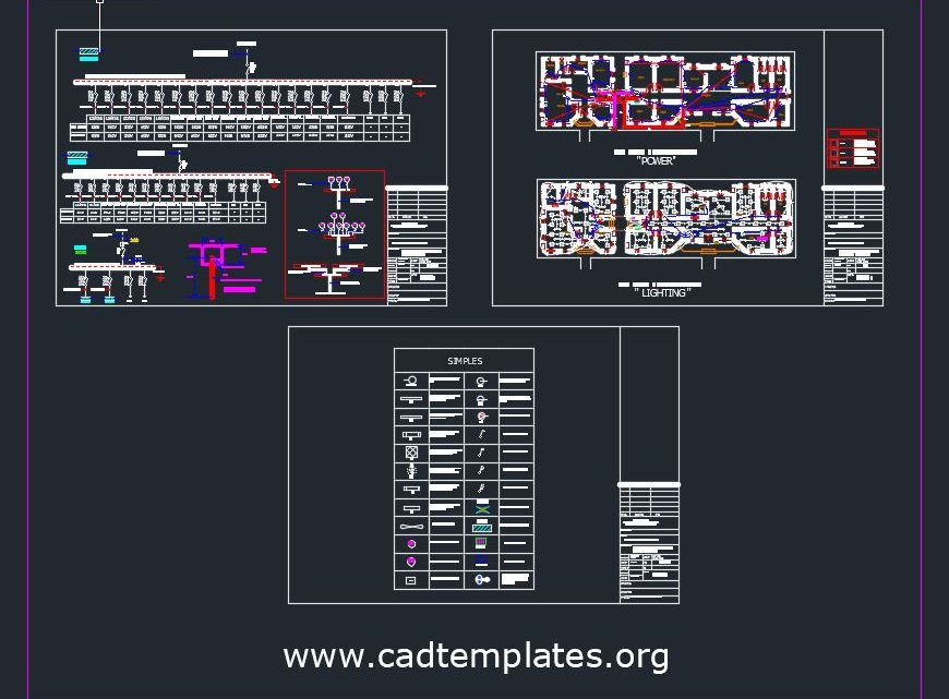 Site Office and Administration Lighting and Power CAD Template DWG