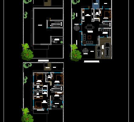 Small Villa Groud Floor Plan CAD Template DWG
