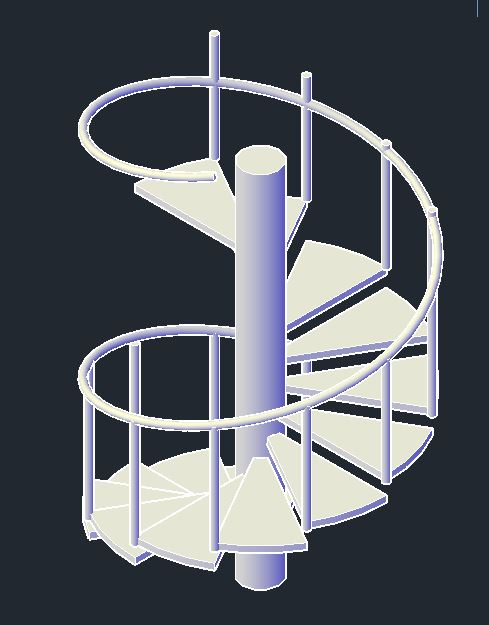 Staircase Rolling 3D Model CAD Template DWG