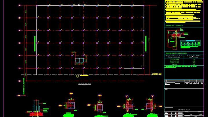 Steel Anchor Bolt Layout Plan CAD Template DWG