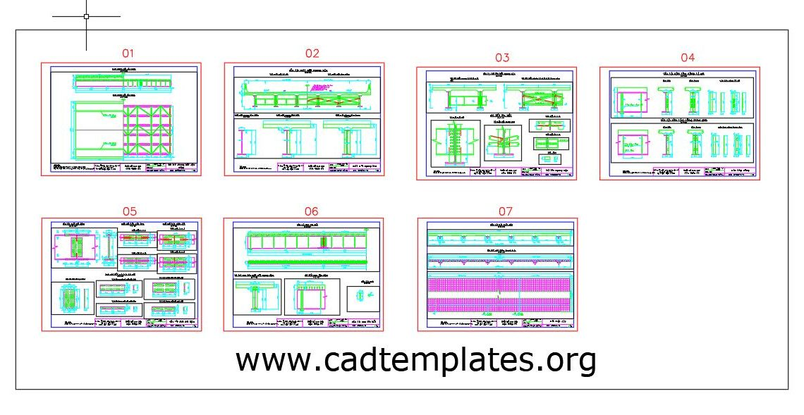 Steel Bridge Beam Sections Details CAD Template DWG