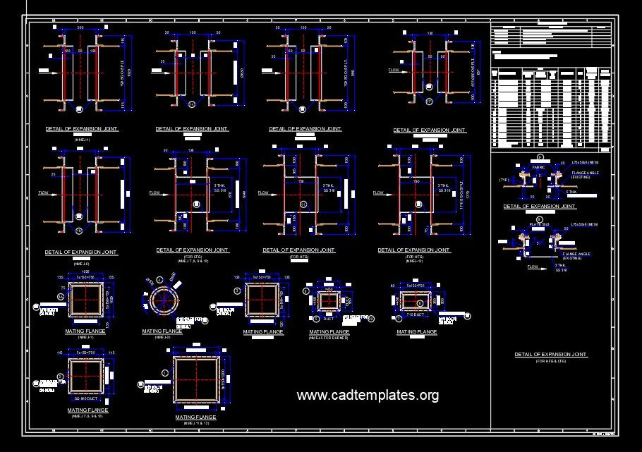 Steel Expansion Joints Sections Details CAD Template DWG