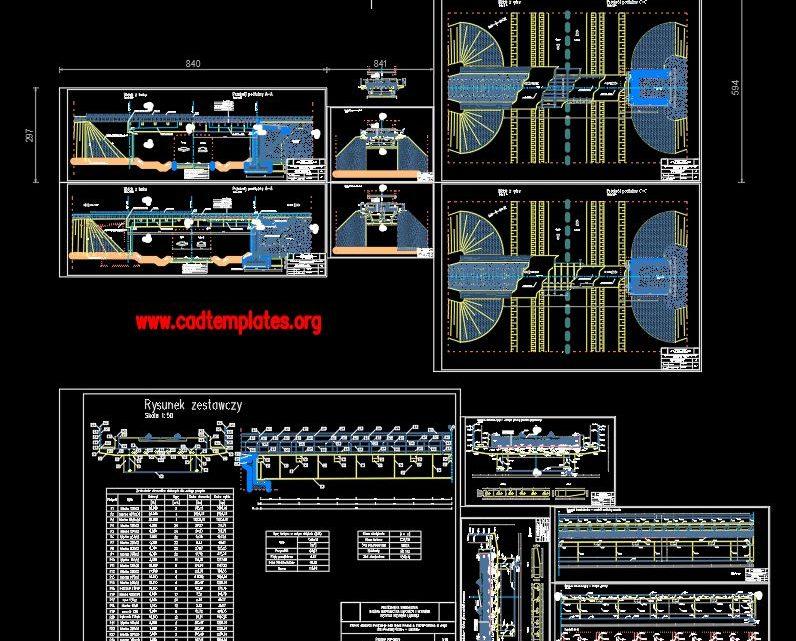 Steel Railway Bridge With All Details CAD Template DWG