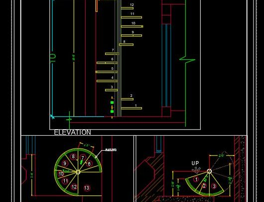 Steel Stair Plan and Elevation CAD Template DWG
