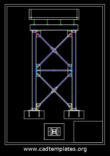 Steel Tank Design Elevation Plan CAD Template DWG